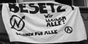 [Transparent: Besetzt – Wir bleiben alle! Wohnen für alle]